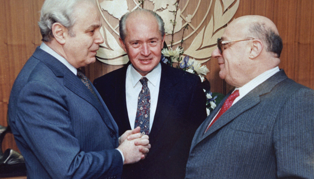 TRNC Rauf R. Denktas, Greek Cypriot leader George Vasiliou and the U.N. Secretary General Presez de Cuellar