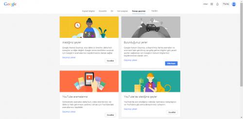 Google Hesap Geçmişi Sayfası.